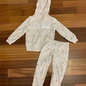 Toddler girl 2 piece fleece zip up/pants size 4T